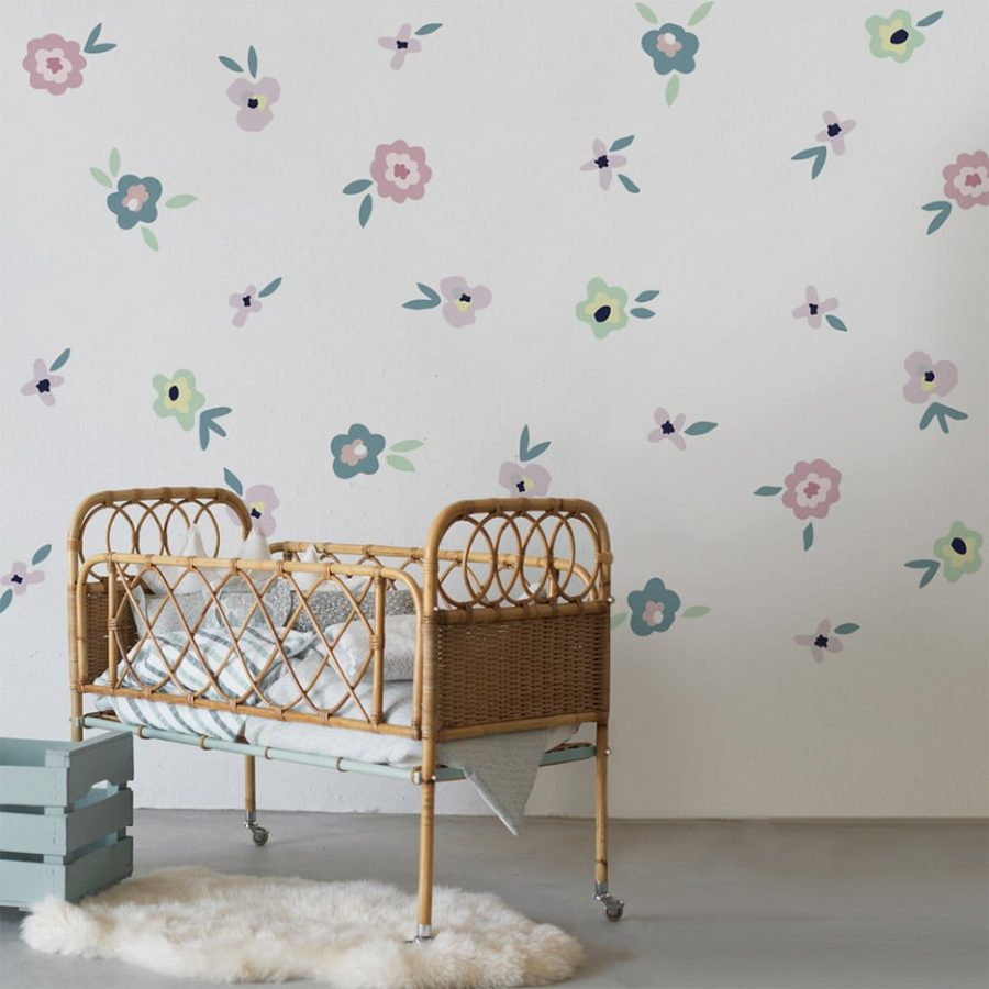 Flower sticker decor with crib Collection Childhood memories - tresxics