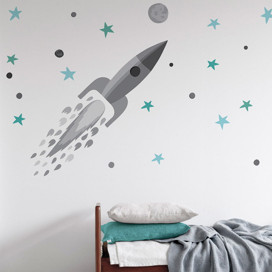 Rocket and Stars Wall sticker grey soft Collection Looking for adventure - tresxics