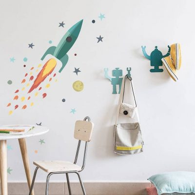 Rocket and Stars Wall sticker turquoise Collection Looking for adventure - tresxics