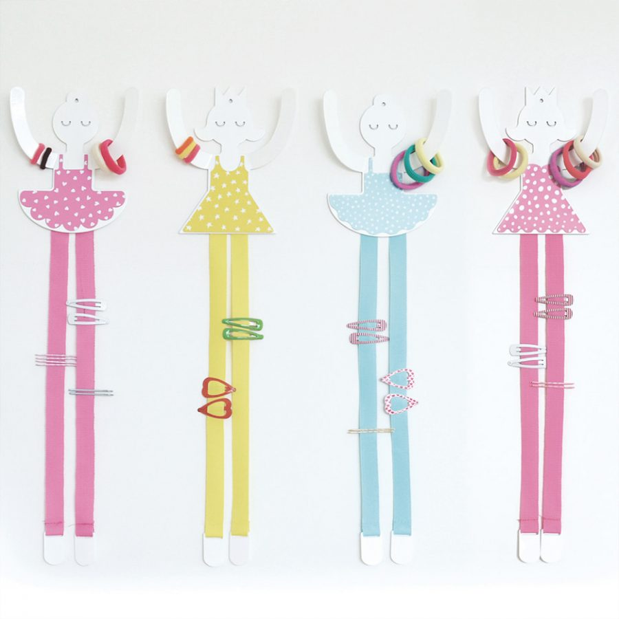 Hair accessorie princess and ballerines decor on the wall colors - tresxics