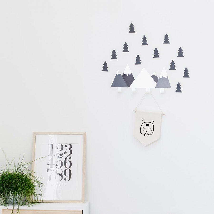 Mountain wall hook black decor - tresxics