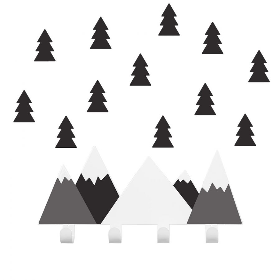 Wall hook collection Into the forest Mountains coat rack color black - Tresxics